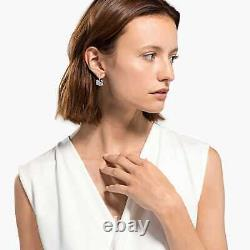 Swarovski Crystal Dancing Swan Pierced Earrings, White, Rhodium Plated 5514420