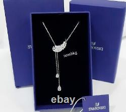 Swarovski Nice Y Necklace, Feather Rhodium Plated Crystal Authentic NEW 5493397