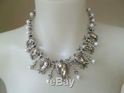 TWICE SIGNED -OSCAR DE LA RENTA Luxury Crystal & Pearl Silver Plate Necklace