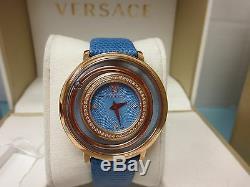 Versace Women's VFH070013 Venus Rose Gold Ion Plated Blue Topaz DIAMOND Watch