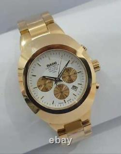 Vintage Rado Diastar Chronograph 36MM Gold Plated Mens Wrist Watch New Year Gift