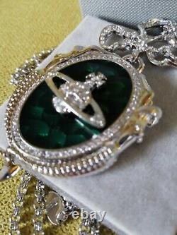 Vivienne Westwood Silver Plated Green Enamel Mermaid Saturn Orb Necklace