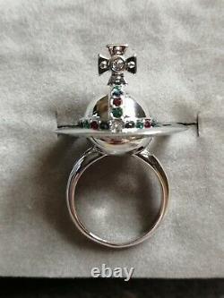 Vivienne Westwood Silver Plated Swarovski Crystal Saturn Orb Poison Ring Size L